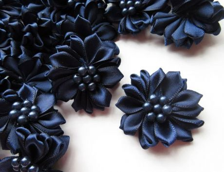 5 X 1.5 INCH NAVY SATIN RIBBON FLOWER EMBELLISHMENT HEADBANDS SOCKS HAIR BOWS